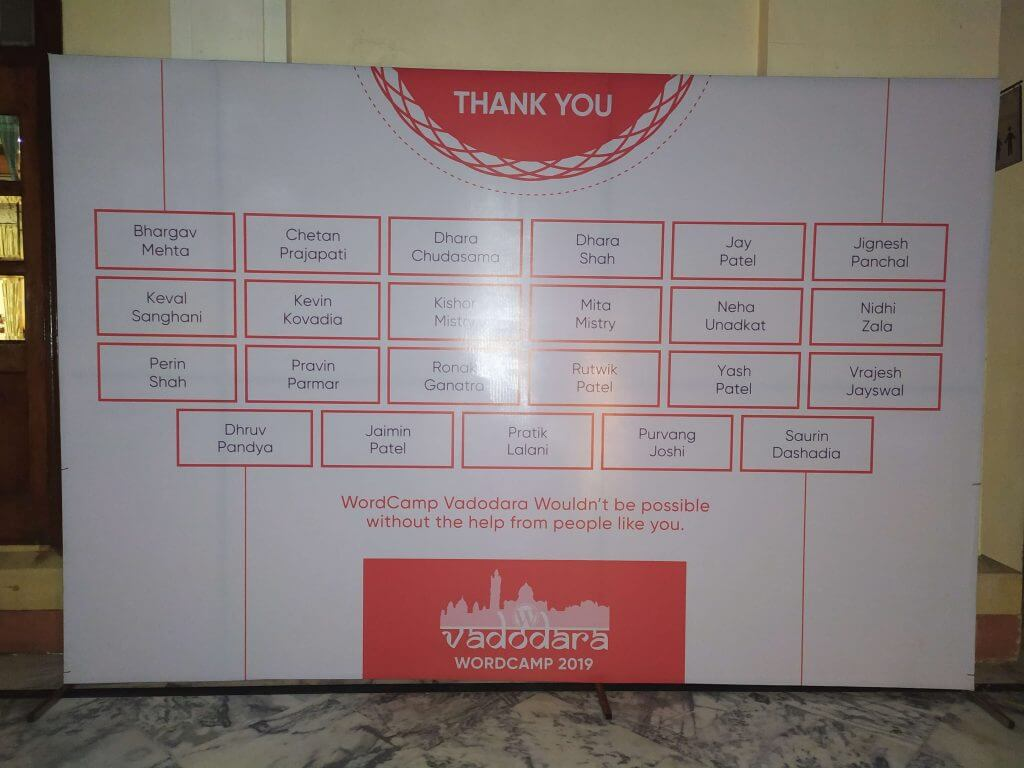 Thank you note to volunteers and organisers