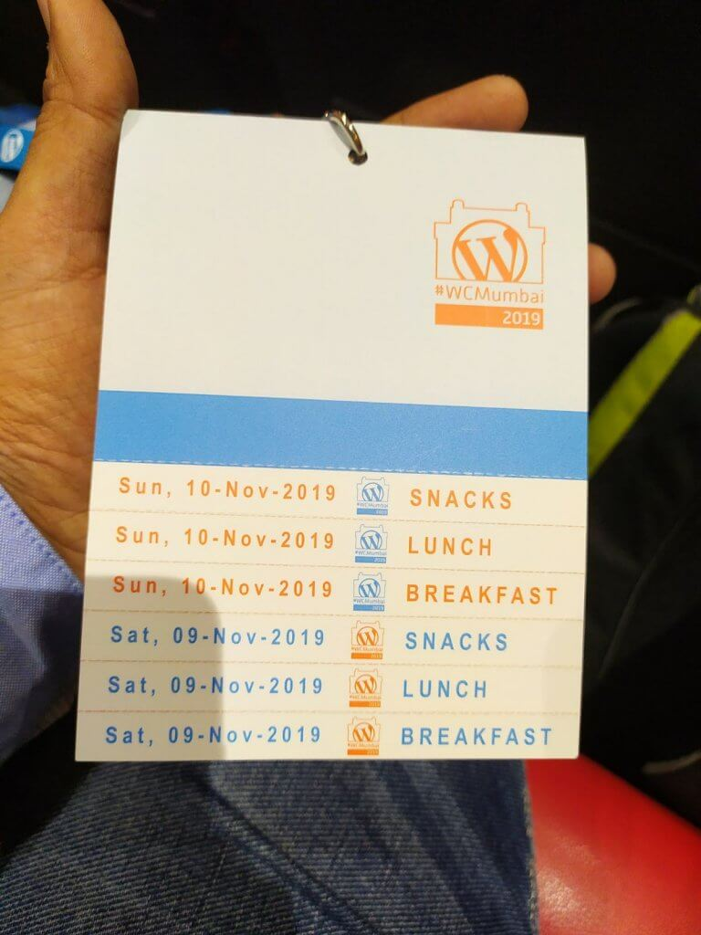Breakfast, Lunch, Snacks schedule at Wordcamp Mumbai 2019